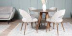 trpezariska stolica so krem tapacir i masivno drvo orev nogarki
