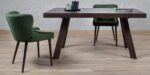 dining chair in green upholstery and black legs