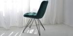 dining chair in green velvet and black legs