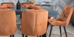 dining chair in cream velvet and oak legs