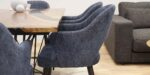 dining chair with grey upholstery and oak wood