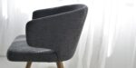 dining chair in grey upholstery and oak