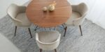 dining set in beige upholstery and walnut