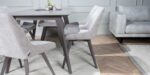 dinning room set in gray wood and upholstery