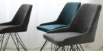 dining chair with black metal leg and grey upholstery
