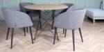 dining chair with denim velvet upholstery and black legs