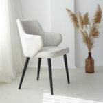 trpezariska stolica so siv stof i crni nogarki