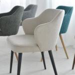 trpezariska stolica so krem stof i nogarki masivno drvo