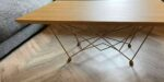 coffee table with oak top and metal legs
