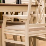 dining armcher in dining set beige color