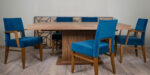 dining set with tirquis chair and walnut table