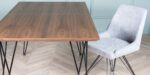 extendable dining table with metal and oak wood