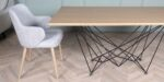 extendable dining table with metal and oak MDF venner