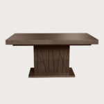 massive walnut dining table with black lines